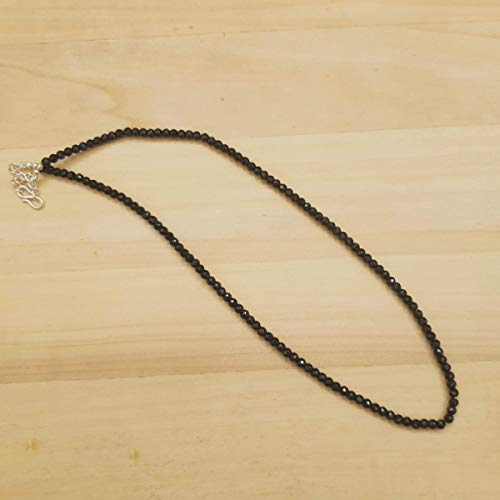 - Natural Black Spinel Beads Necklace Strand Sterling Silver 16 inches August Birthstone Jewelry