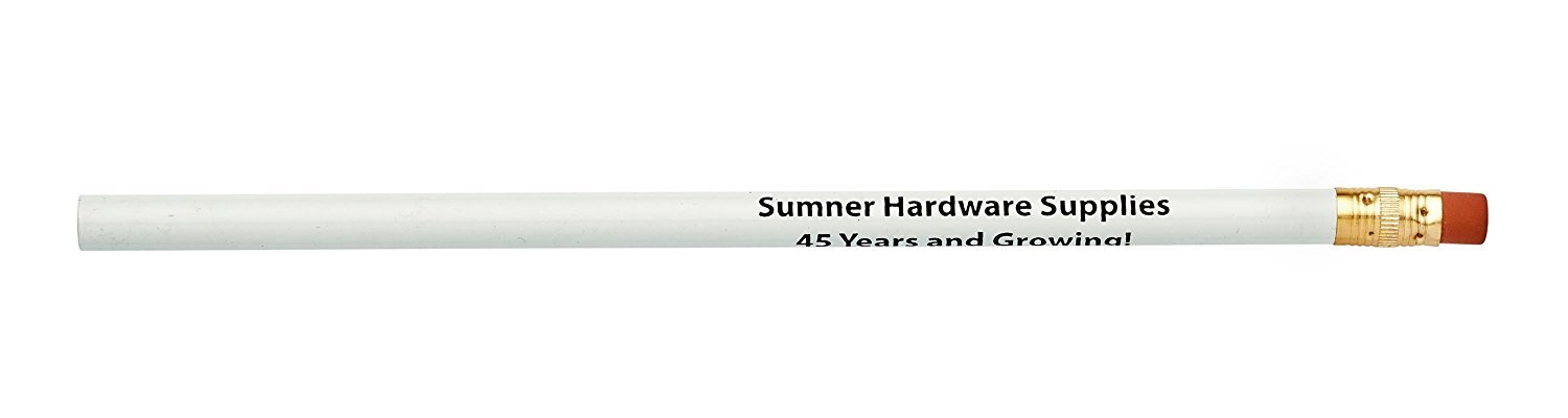 Pencil Guy Promotional Personalized Imprinted Round Pencils.-1000 per Box White