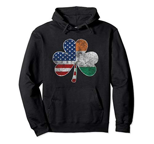 Vintage Irish American Flag Shamrock St Patricks Day Hoodie