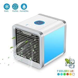 Miniacondicionador de aire portátil; humidificador y purificador del aire; con puerto de USB