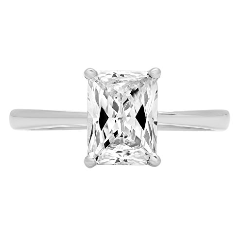 2.0 ct Brilliant Emerald Cut Solitaire Highest Quality Moissanite Ideal VVS1 D 4-Prong Engagement Wedding Bridal Promise Anniversary Ring in Solid Real 14k White Gold for Women, Size 8