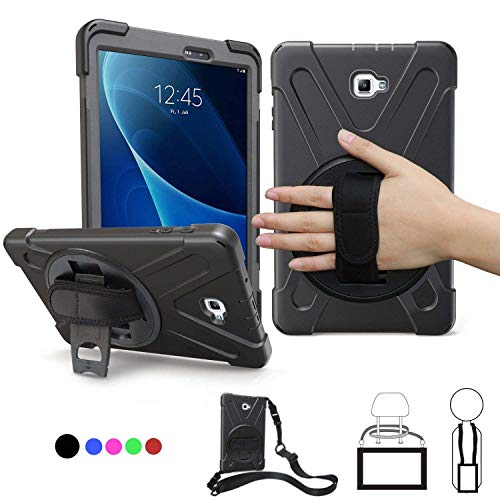 Samsung Galaxy Tab A 10.1 Case 2016,SM-T580 Case With Hand Strap,Heavy Duty Full-Body Rugged Protective Shockproof/Dropproof Case Cover W/ 360 Rotatable Stand,Shoulder Strap For Kids T585/T587,Black