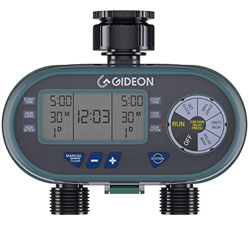 Gideon Dual Valve Water Hose Irrigation Sprinkler System Controller with Automatic Timer Easy Set Up and Simple to Use Digital Valve System - Battery Powered ()
