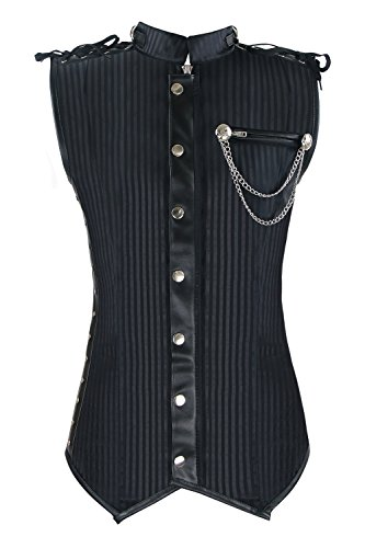 Charmian Men's Spiral Steel Boned Victorian Steampunk Gothic Retro Stripe Waistcoat Vest with Chain Black XXXX-Large