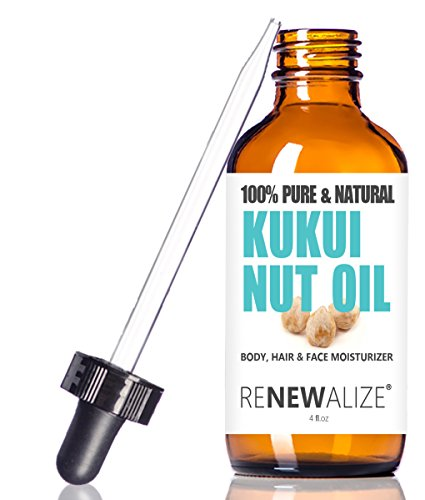 KUKUI NUT Oil Anti-FRIZZ Hair & Skin MOISTURIZER - in 4 Ounce Dark Glass Bottle | All Natural 100 Percent Pure Cold Pressed Oil | Hair Repair Treatment for Gloss, Breakage, Anti Frizz & Split Ends