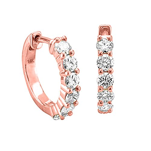 14K Pink Gold 6 Stone Hoop Diamond Earrings (3/4 Carat)