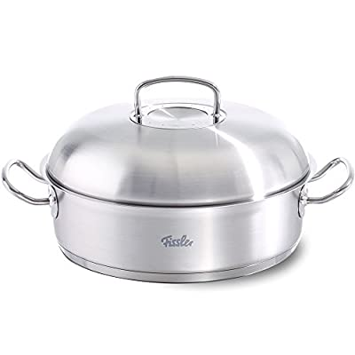 """Fissler FISS-08437328001 Round Roaster with Domed Lid, 12"""", Silver"""