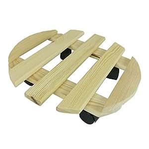 Plato para maceta con ruedas redondo 35cm madera europeo Impermeabilizada Jardín Balcón