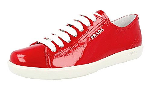 Prada Women's 3E5534 Red Leather Sneaker EU 38.5/US - Prada Red