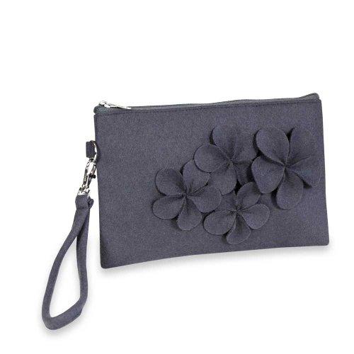 Floral Wristlet – Felt (Heron Purple), Bags Central