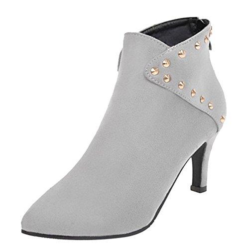 RAZAMAZA Women Fashion Bootie Back Zipper Gray