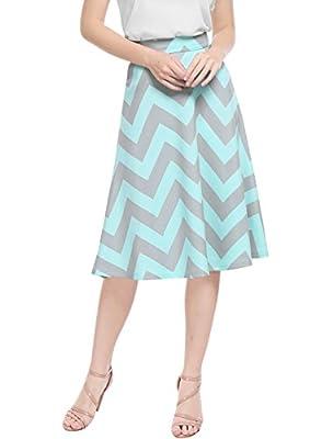 Allegra K Women's Chevron Prints Zippered Flared Midi Skirt
