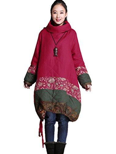 Rouge Vintage Patchwork MatchLife Robe Manteau Pullover Femme Casual 0wqpa