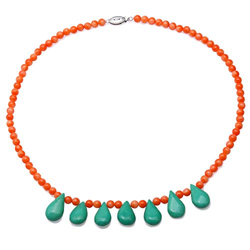 JYXJEWELRY AAA 5-5.5mm Round Red Coral Necklace Single Strand Coral Beads Necklaces with Green Drop Turquoise 18.5