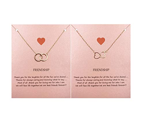 Your Always Charm Double Circle Knot Necklace,Two Interlocking Infinity Circles Gift for Best Friend (2 Rose Gold Necklace)
