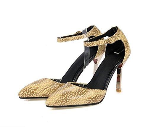 Femmes PU plaine pointu orteil fine avec talons hauts boucle Courroie chaussures tribunal , yellow , 38