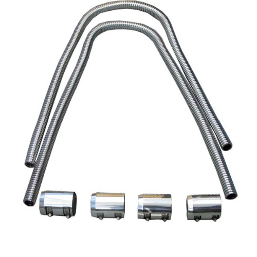 44'' Chrome Stainless Heater Hose W/Chrome Caps Universal