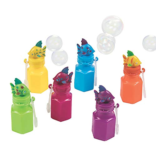 (Fun Express - Tropical Fish Bubble Bottles for Summer - Toys - Bubbles - Character Bubble Bottles - Summer - 12 Pieces)