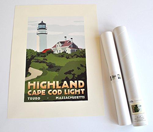 Highland Cape Cod Light Print (18x24 Lighthouse Travel Poster, Wall Decor Art)