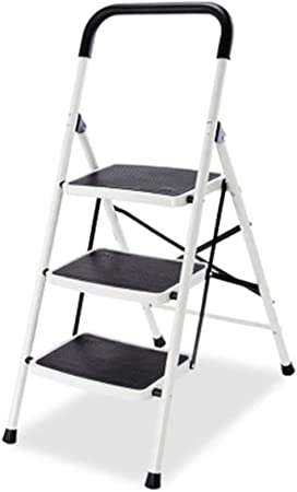 Step Stool Wooden- Escaleras de Tijera Escalera Plegable Silla Acero al Carbono Taburete Antideslizante con pasamanos, MAX.150 KG Welcome (Tamaño : 3 Steps): Amazon.es: Hogar
