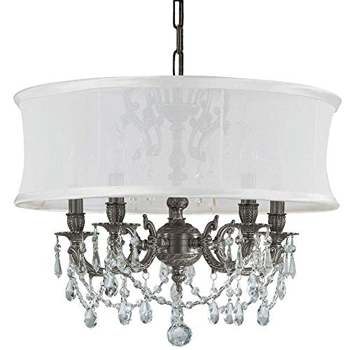 Cls Traditional Crystal Chandelier - Crystorama 5535-PW-SMW-CL-S, Brentwood Swarovski Crystal Chandelier Lighting, 5LT, 300 Watts, Pewter
