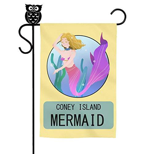 kanidjkd Seasonal Home Garden Flag Coney Island Mermaid Parade Starfish Poster Premium MaterialFade ResistantDecorative Flags,12 X 18 Inch