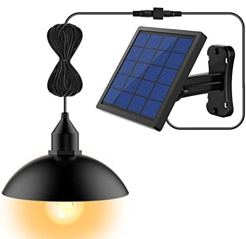 Solar Lights, LOZAYI Outdoor Solar Lights, IP65 Waterproof 16.4Ft Cord Outdoor Lights Black Mini Pendant Light LED Bulbs with Adjustable Solar Panel for Garden Patio Home Decorate-Warm Light