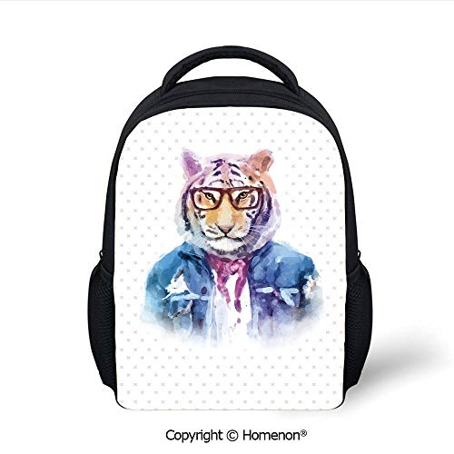 (3D Intellectual Tiger with Scarf Torn Denim Jacket and Glasses Watercolor Artwork Decorative Printing Children School Bags Campus Student Bookbags,(12.2