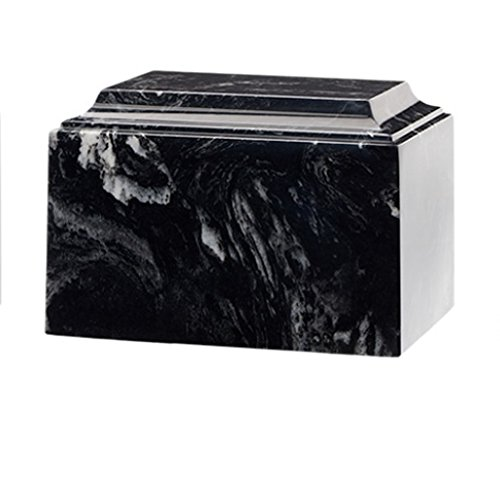 Trinityurns Classic Cultured Marble Cremation Urn for Human Ashes - Adult /Large Size, Marble Urn, Adult Affordable Urn for Human Ashes suitable for Ground burial or Home memorial (Black - Cremation Urn Marble