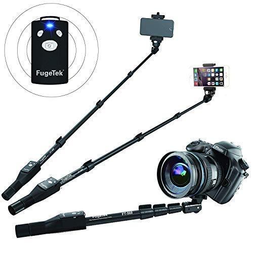 Fugetek FT-568 Professional High End Selfie Stick Monopod, For Apple, Android, & DLSR Cameras, Removable Wireless Bluetooth Remote (Black) by Fugetek