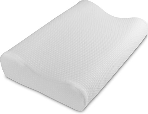 Contour Mold Memory Foam Pillow (King) - Cervical and Neck pillow - Neck and Spinal Cord Pain Relieve - Removable Zippered Cover - Retain Shape Pillow by Utopia Bedding