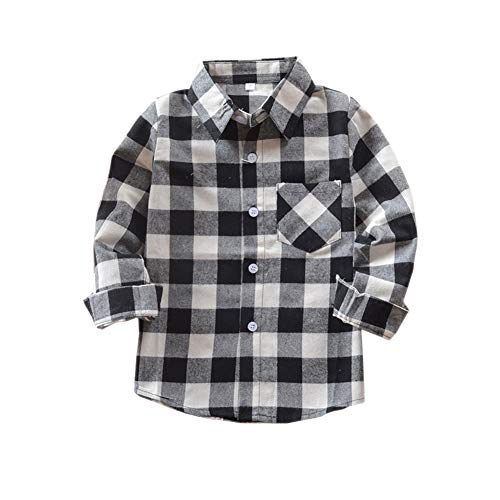 Kid Girl Boy Long Sleeve Button Down Plaid Flannel Shirt Black White 7 -