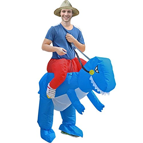 Funny Adult Inflatable Costume Suit Ride Me Inflatable Animal Fancy Dress Jumpsuit,Inflatable Dinosaur Costume,Blue (Blue Inflatable Funny Costumes)