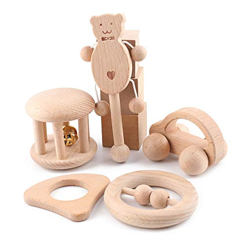 Promise Babe Puzzle Toys Montessori Teether Toys Set Infant Wooden rattles Interesting Toys 5pc Nursing Wooden Teether Rattles