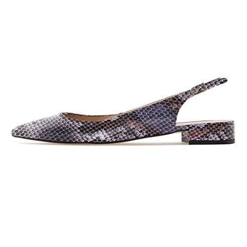 Sandali da Python Caviglia 2 Soireelady Blocco a Pointed Con Pumps Tacco 2CM Cinturino Viola Scarpe Slingback Alla Toe donna ARd55wxq