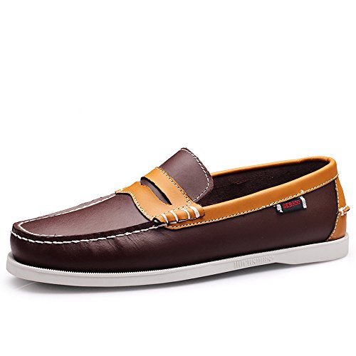 EnllerviiD Men Classic Two-Eye Boat Shoes Slip-On Driving Moccasins Flat Leather Loafers 7025 Brown Yellow CfKsrnUyD4