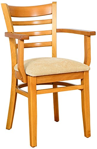 Beechwood Mountain BSD-5A-C Solid Beech Wood Arm Chair in Cherry for Kitchen & Dining, NA (Kitchen Chair With Arms)