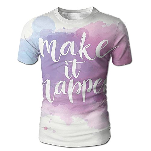 (Kooiico Men's Make It Happen Hand Written Positive Quote In Paintbrush Motivational Classic T-shirt White)