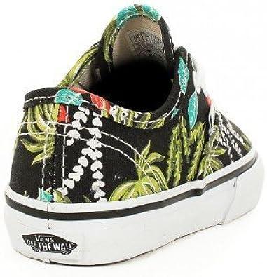 Basket Vans Authentic Junior Noir Motif Fleur Hawaienne