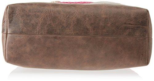 Gattabuia Sara, Borsa a Spalla Donna, 33x32x14 cm (W x H x L) Multicolore (Cacao/Bouganville)