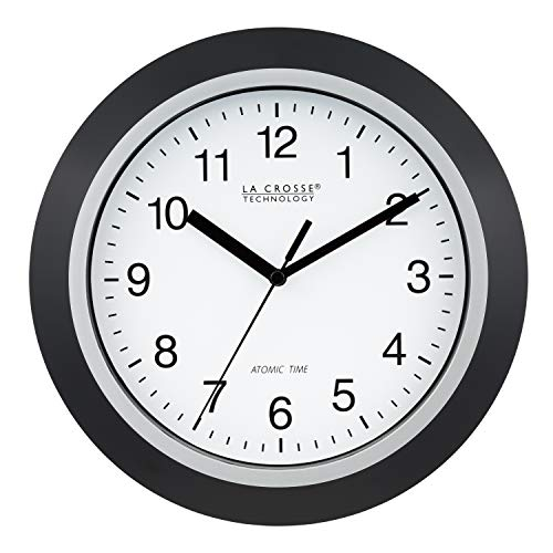 Clock Analog Atomic Lacrosse - La Crosse Technology WT-3102B 10-Inch WWVB Self-Set Analog Wall Clock and Automatic DST Reset