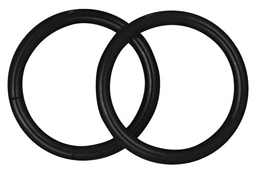 Forbidden Body Jewelry Pair of 2 Rings: 14g 1/2 Inch Surgical Steel Black IP Plated Seamless Segment Hoop Rings (Plated Black Ring Eyebrow)