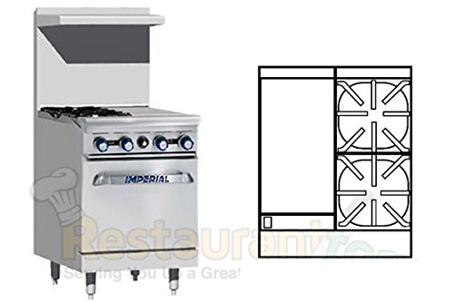 Imperial Commercial Restaurant Range 24'' With 2 Burners 12'' Griddle 1 Standard Oven Nat Gas Ir-2-G12 by Imperial