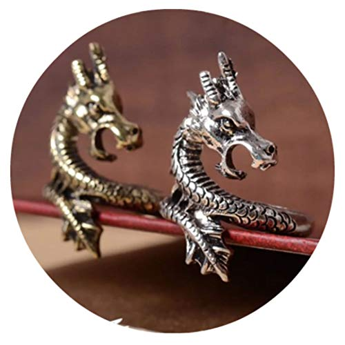 Dragon Head Ring Silver Bronze Ouroboros Snake Serpent Eating Tail Mayan Cobra H.P. Love Craft Diamond Leviathan Poseidon Coiled Cthulhu Seahorse Beach Sea Ocean (DrgnHead) (Bronze)