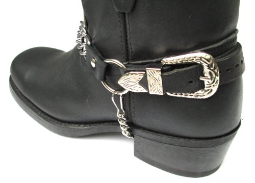 Biker Boots Boot Chains: Black Topgrain Cowhide Leather, 2 Steel Chains