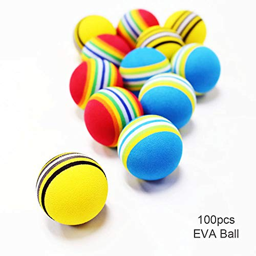 POSMA EB010 Multi Color Golf Foam Practice Balls 100pcs Bundle Gift Set Cinch Sack Carry Bag- Soft Elastic Golf Balls Golf ()