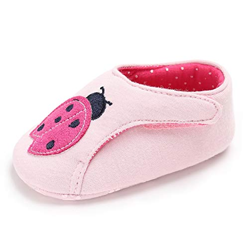 M2cbridge Baby Girl's Bow Dress Shoe Infant Toddler Pre-Walker Crib Shoe (0-6 Months, Pink Ladybug)