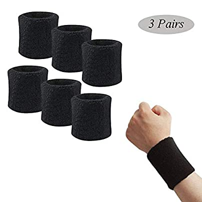 Sports Wristband Sweat Belt Sports Cotton Terry Cloth Suitable for Tennis Basketball Running Gym Exercise 1Pair Estimated Price £30.70 -