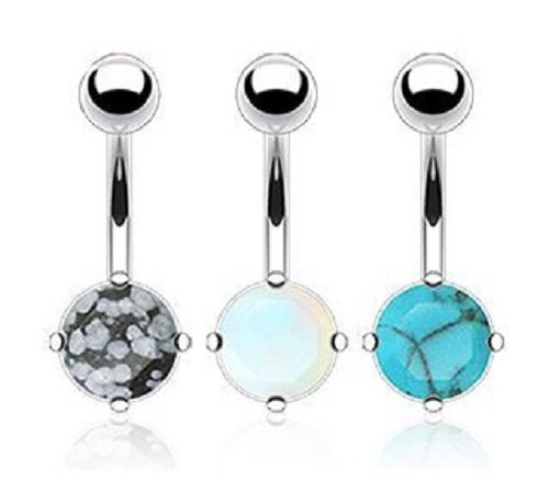 (3 Piece Lot - Semi Precious Stones Opalite, Snowflake Obsidian & Blue Turquoise Belly Navel Piercing Bar Ring Jewelry 316L Surgical Steel 14g)