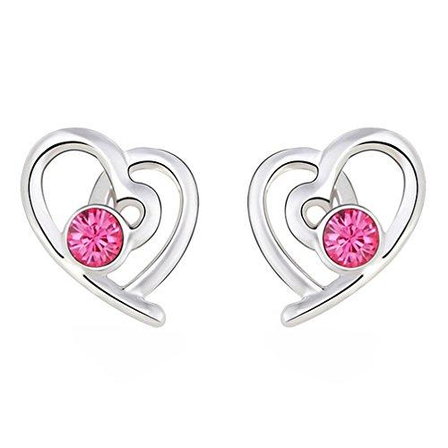 Lujuny Lovely Jewelry Rose Heart Alloy Rhinestone Earrings Studs for Women Girls, 1 Pair